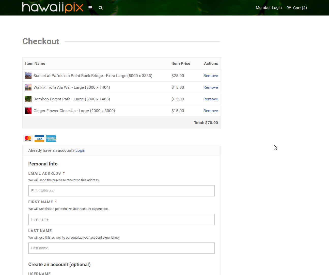 Hawaiipix Checkout Page