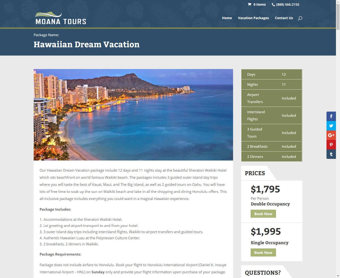 Moana Tours Product Page