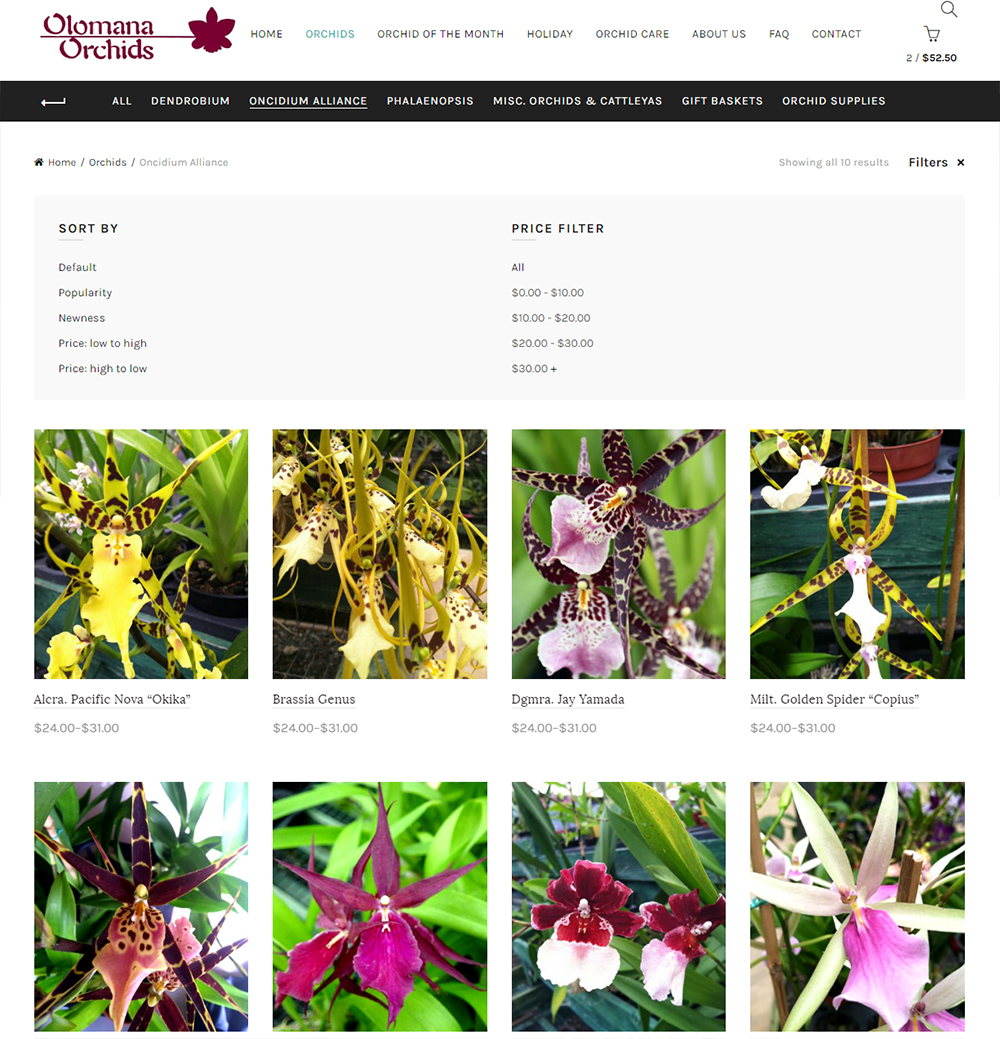Olomana Orchids Storefront Page