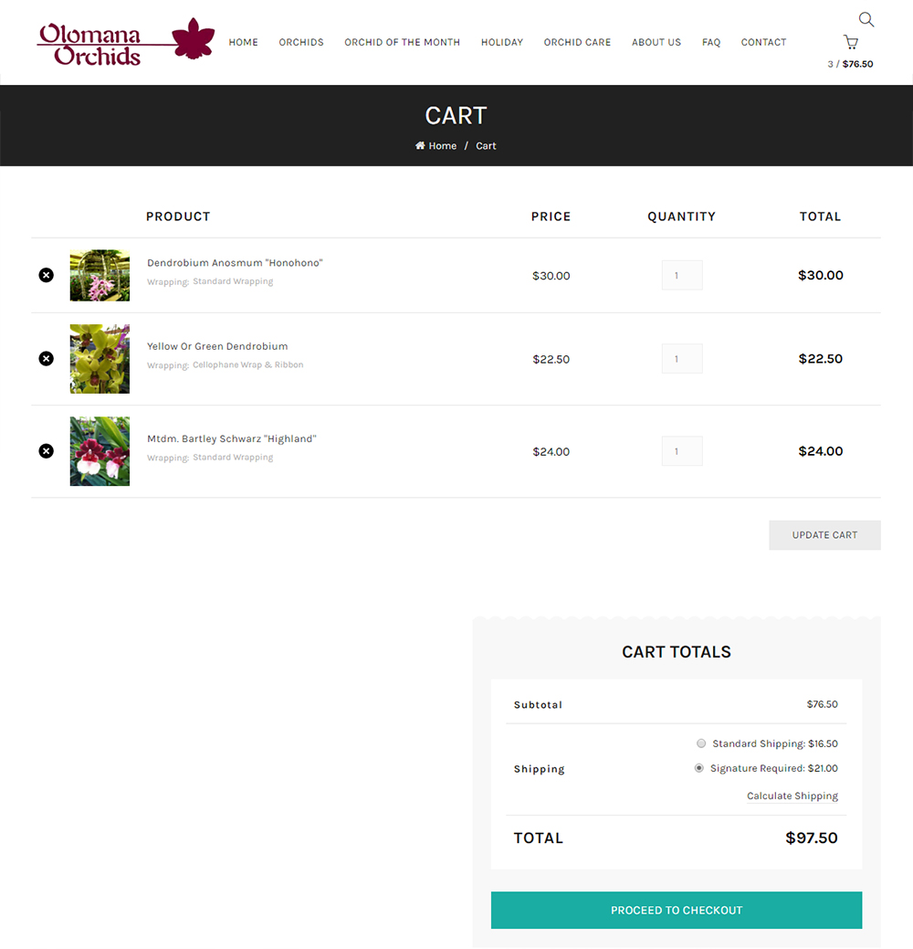 Olomana Orchids Shopping Cart Page