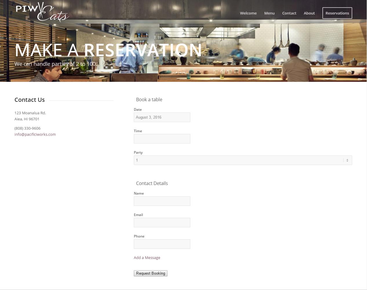 Restaurant Web Site Demo